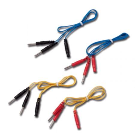 JEU 4 CABLES BIFURCATEURS (2 bleus / 2 jaunes) fiches 2mm